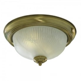 2 Light Flush Ceiling Fitting with Antique Brass Finish