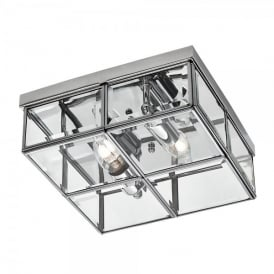 2 Light Flush Ceiling Fitting with Bevelled Glass and Polished Chrome Finish