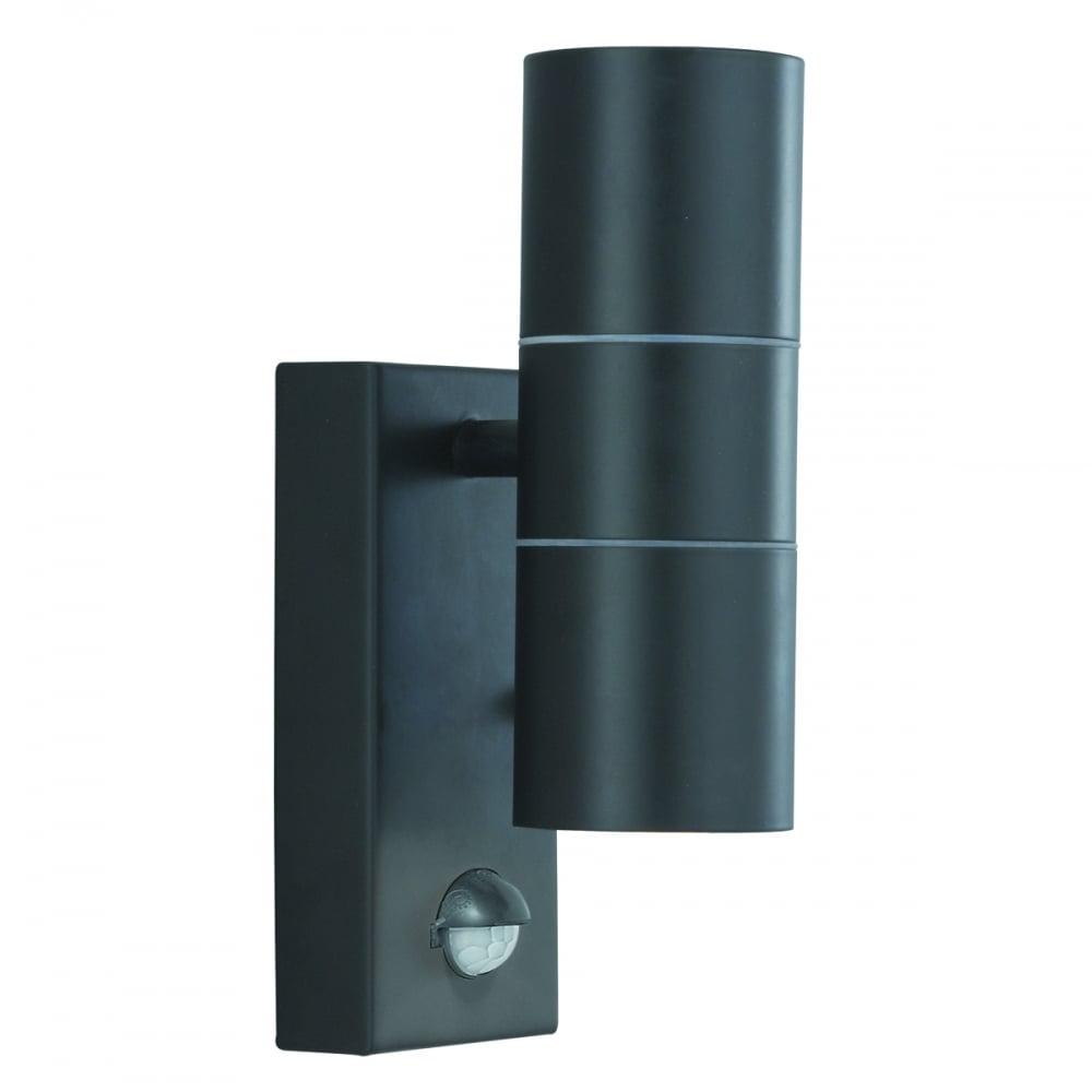 Lanark Outdoor Wall Light With Pir In Black : Searchlight Lighting 2 Light LED Outdoor Wall Fitting in Black Finish with PIR Sensor - Lighting ...
