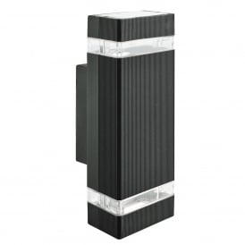 2 Light Outdoor Wall Fitting In Black Finish With Clear Diffuser
