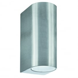 2 Light Outdoor Wall Fitting In Silver Finish With Glass Lens