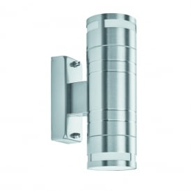 2 Light Outdoor Wall Light In Stainless Steel Finish