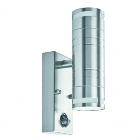2 Light Outdoor Wall Light In Stainless Steel Finish With PIR Sensor
