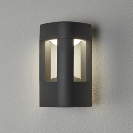 2005GY Michigan Single Light Outdoor Wall Fitting In Dark Grey Finish With White Acrylic Light Diffuser