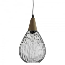 2019CL Indiana Single Light Ceiling Pendant With Clear Glass Shade And Wood Finish