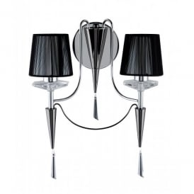 2082-2CC Duchess 2 Light Wall Fitting with Crystal Sconces and a Chrome and Black Chrome Finish