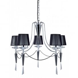2085-5CC Duchess 5 Light Small Ceiling Fitting with Crystal Sconces and a Chrome and Black Chrome Finish