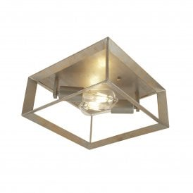 2412-2SI Heaton 2 Light Ceiling Fitting in Brushed Silver Gold Finish