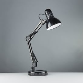 2429BK Single Light Task Table Lamp In Shiny Black Finish