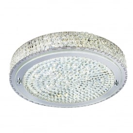 2714CC Vesta Led Flush Ceiling Fitting In Polished Chrome Finish With Clear Crystal Centre Decoration