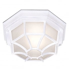 2942WH Single Light Flush Ceiling Fitting Die Cast Aluminium in White Finish with Frosted Glass