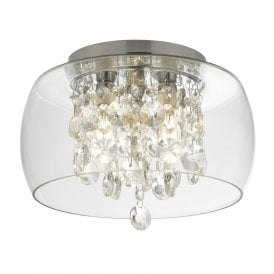3 Light Bathroom Ceiling Fitting with Crystal Detail