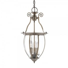 3 Light Ceiling Pendant In Antique Brass And Clear Glass Finish