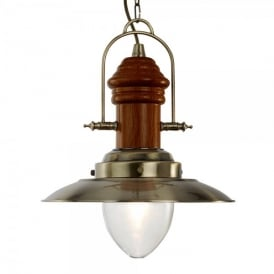 3301AB Fisherman Single Light Ceiling Pendant in Antique Brass with Wooden Detail