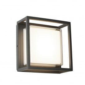 3812GY Ohio Single Light Outdoor LED Wall Fitting In Dark Grey Finish With Clear Acrylic Panels and Opal White Inner Diffuser