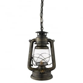 3841-1BG Hurricane Small Single Light Lantern Pendant In Black Gold Finish With Clear Funnel Glass