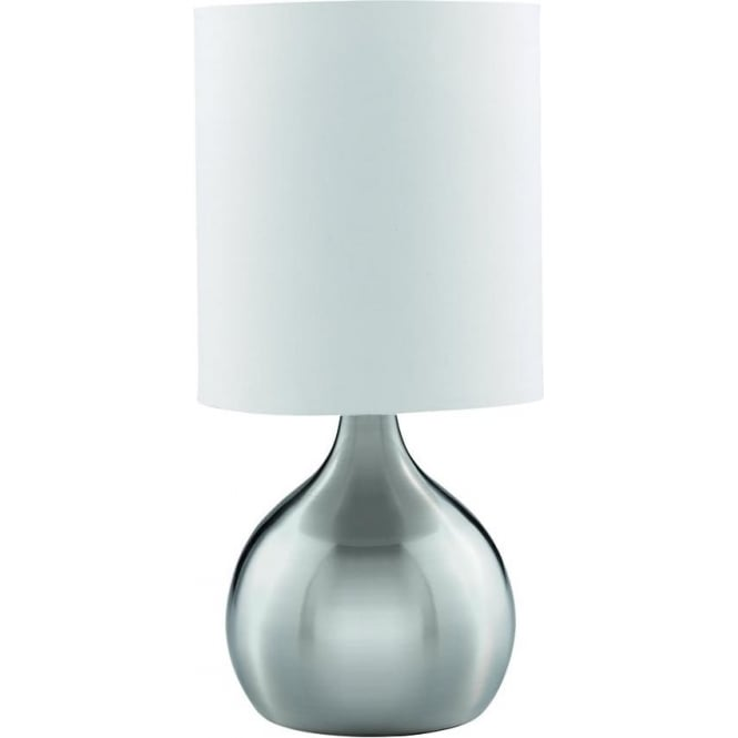 Searchlight Lighting 3923ss Single Light Small Touch Table Lamp In Satin Silver Finish With White Fabric Shade