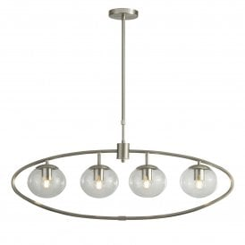 4 Light Oval Ceiling Pendant in Satin Silver Finish