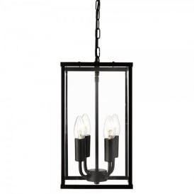 4 Light Rectangular Ceiling Lantern In Black Finish With Clear Glass Panels