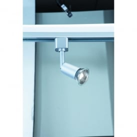 4109SI Single Light Cylindrical Track Spotlight Fitting In Silver Finish