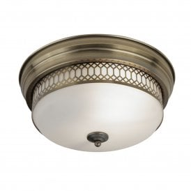 4132- 2AB Edinburgh 2 Light Flush Ceiling Fitting in Antique Brass Finish