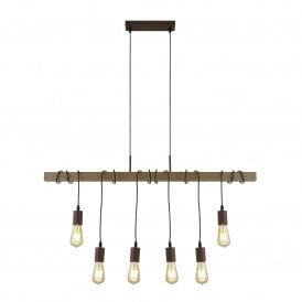 4876-6BR Barn 6 Light Ceiling Pendant in Brown Finish