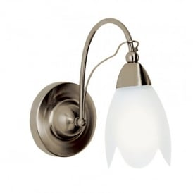 4901-1AB Petal Single Light Wall Fitting with Acid Glass Shade and an Antique Brass Finish