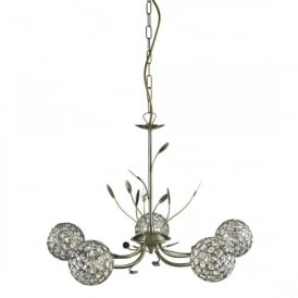 5575-5AB Bellis II 5 Light Ceiling Pendant In Antique Brass Finish