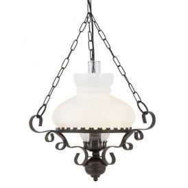 576RU Oil Lantern Single Light Ceiling Pendant with Antique Rust Finish