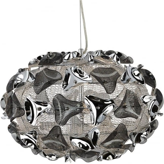 Searchlight Triangle Light Small Chrome Smokey Acrylic Modern Ceiling Pendant