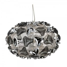 5803-3SM Triangle 3 Light Mesh Ceiling Pendant with Polished Chrome and Smoked Acrylic Detail