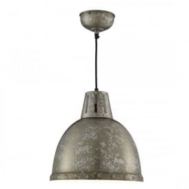5931 Single Light Ceiling Pendant In Rustic Brown And Silver Finish