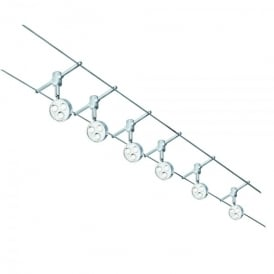 6 Light LED Ceiling Suspension Kit System In Polished Chrome Finish With Adjustable Grey Heads