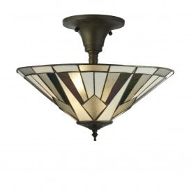 6071-42 Gatsby 3 Light Tiffany Ceiling Fitting
