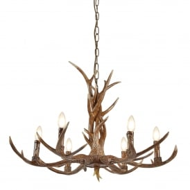 6416-6BR Stag 6 Light Ceiling Pendant In Rustic Brown Finish