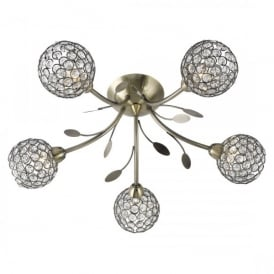 6575-5AB Bellis II 5 Light Semi Flush Ceiling Fitting In Antique Brass Finish