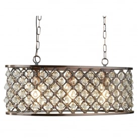 6953-3CU Marquise 3 Light Oval Ceiling Pendant In Antique Copper Finish And Clear Crystal Glass