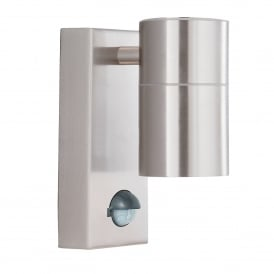 7008-1SS-LED Single Light Outdoor Wall Fitting With Motion Sensor In Satin Silver Finish