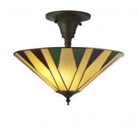 7063-42 Charleston 3 Light Tiffany Ceiling Fitting
