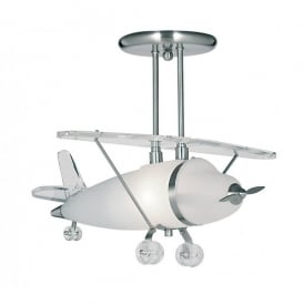 737 Aeroplane Frosted Glass Pendant with Chrome Detail