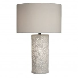 7521WH Stencil 2 Light Ceramic Table Lamp with White Shade