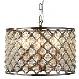 7813-3CU Marquise 3 Light Ceiling Pendant In Antique Copper Finish And Clear Crystal Glass