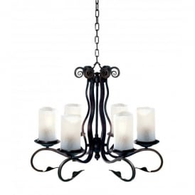 7916-6BK Scroll 6 Light Wrought Iron Ceiling Fitting in Rustic Black