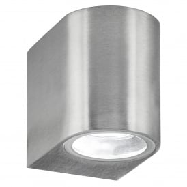 8008-1SS-LED Single Light Outdoor Wall Fitting In Stainless Steel Finish With Fixed Glass Lens