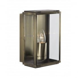 8204AB Rectangular Single Light Outdoor Wall Fitting in a Rustic Antique Brass Finish