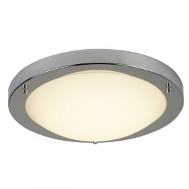 8702SS LED Flush Bathroom Ceiling Fitting In Satin Silver Finish With Opal Glass Shade