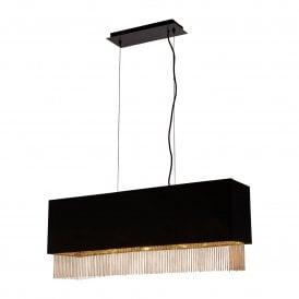 8724-4BK Fringe 4 Light Ceiling Pendant with Black Shade and Gold Detail