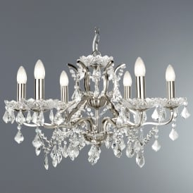 8736-6SS Paris 6 Light Ceiling Chandelier in Satin Silver Finish With Clear Crystal Drops & Trim