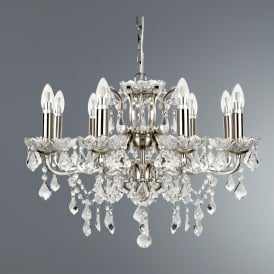 8738-8SS Paris 8 Light Ceiling Chandelier in Satin Silver Finish With Clear Crystal Drops & Trim