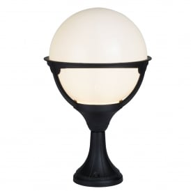 8740 Orb Single Light Outdoor Post Lantern In Black Finish With Round Opal Shade